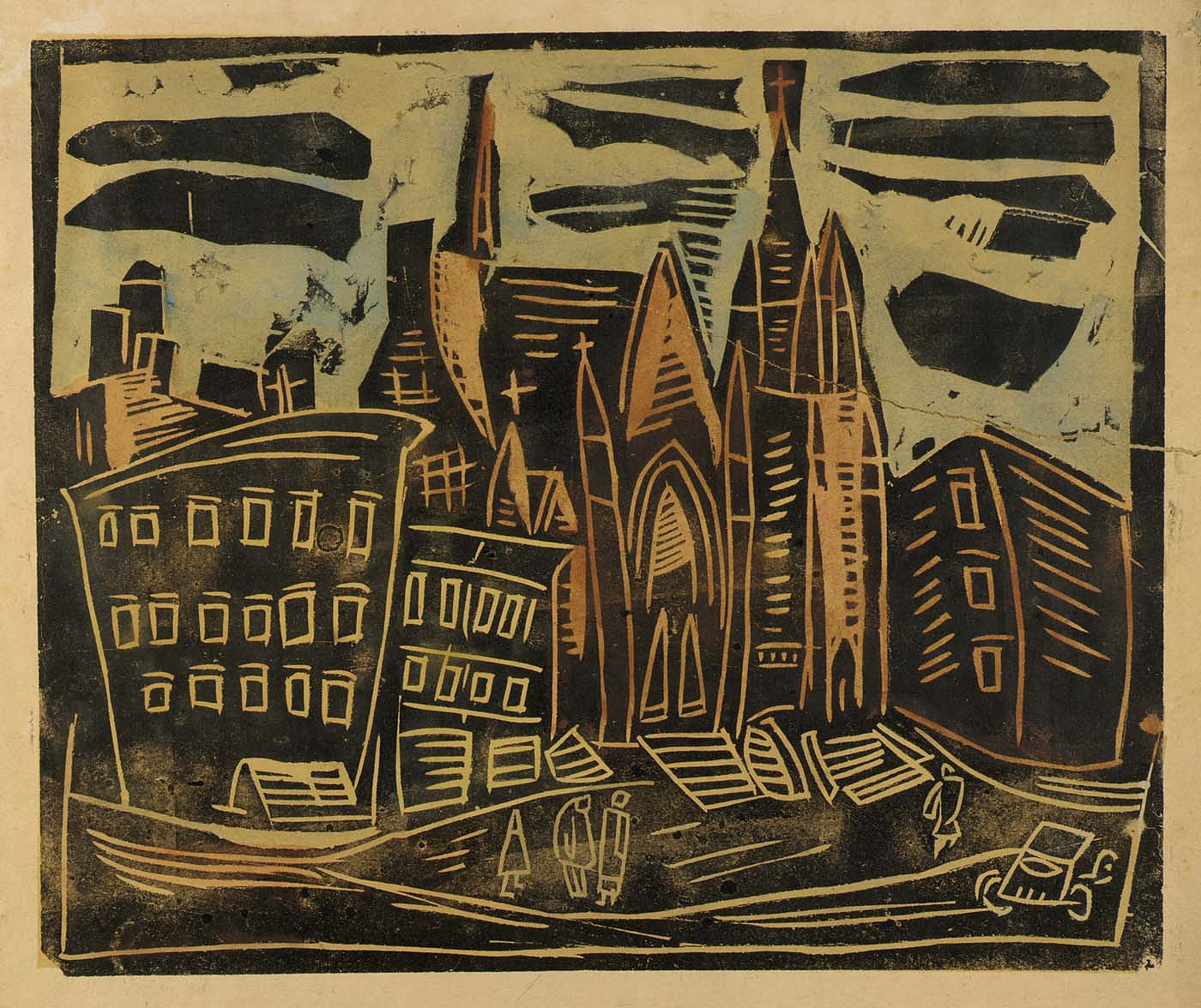 Harlem Street With Church A Hand Colored Relief Print By William H Johnson Circa 1939 1940