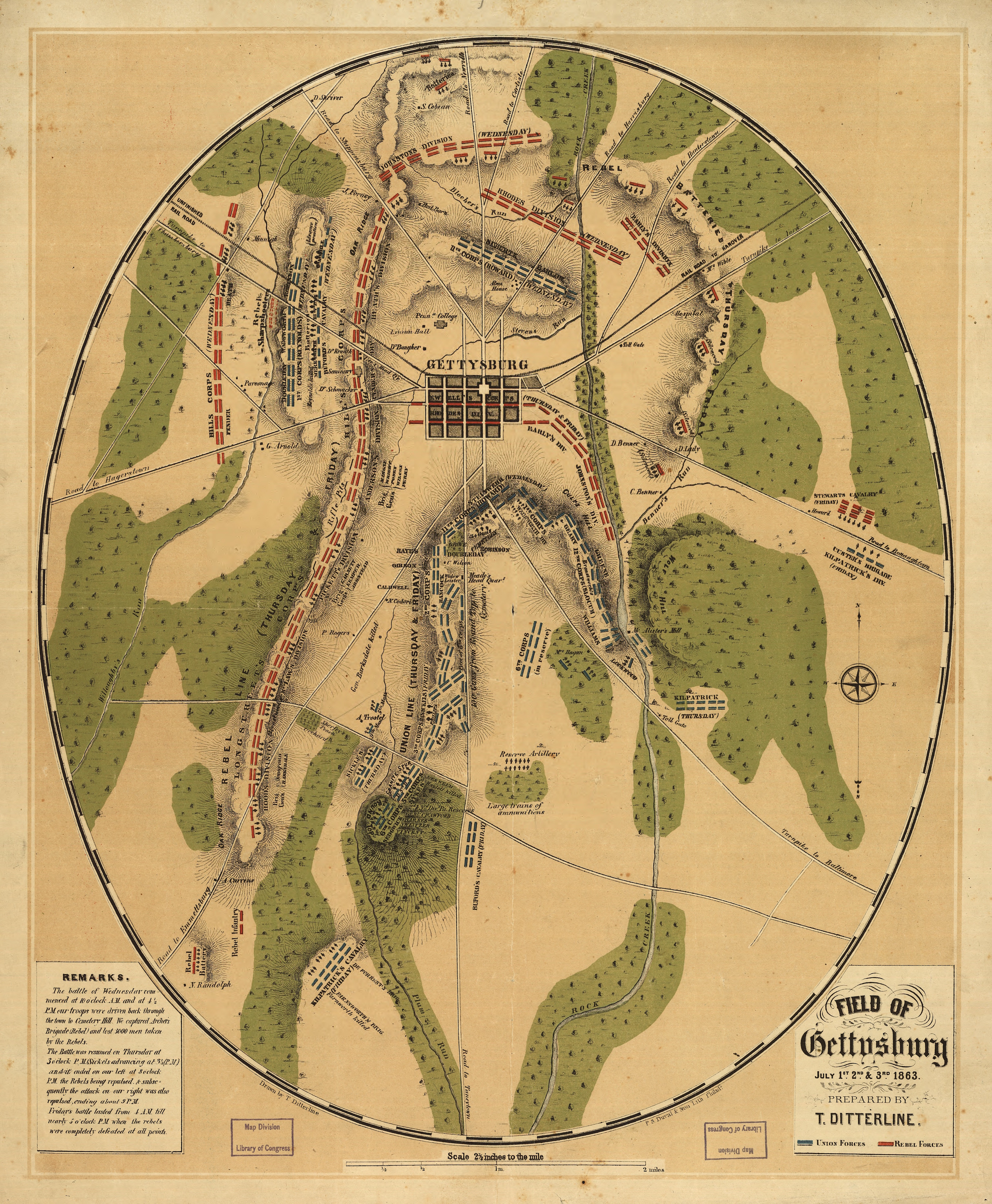 Gettysburg Topographic Map.A Map Of Military Action During The Battle Of Gettysburg July 1 3
