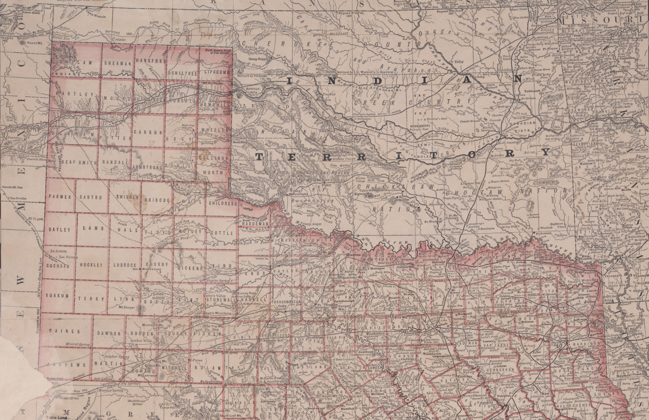 Texas Map Of Cities Towns And Counties.A Map Of Texas And Indian Territory 1879 Dpla