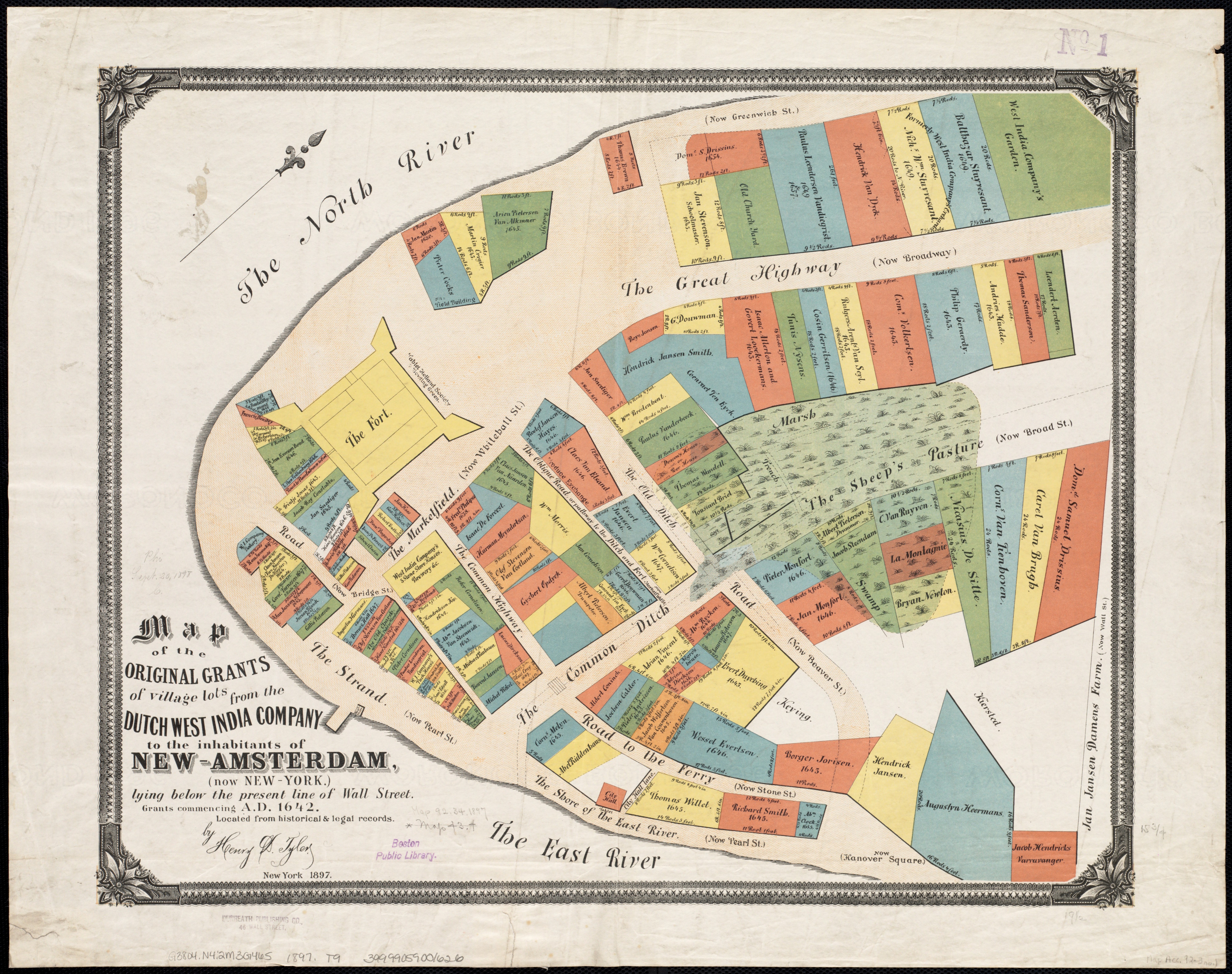 A map showing the original land grantees in New Amsterdam, 1897. | DPLA
