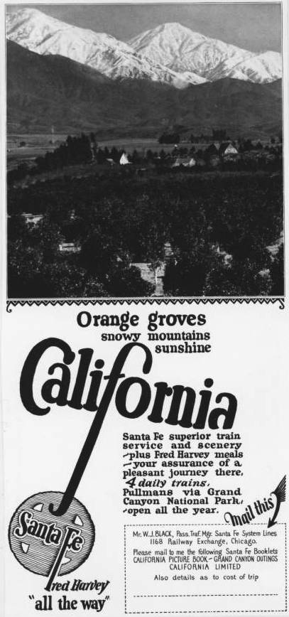 A 1925 Santa Fe Railroad advertisement for travel to
