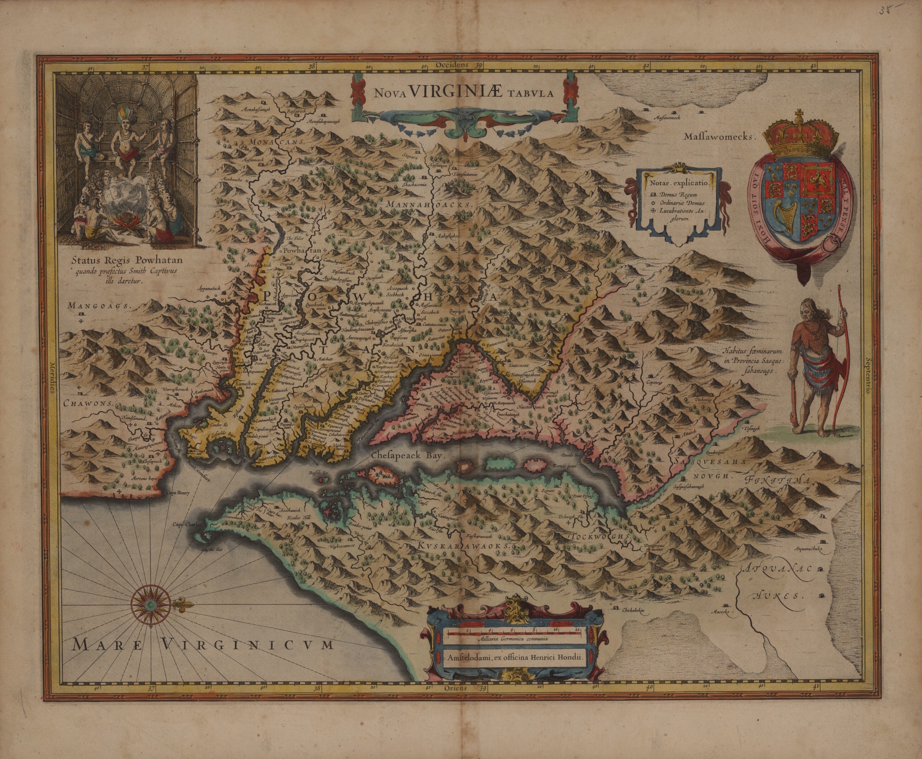 A New Map of Virginia with images of Powhatan 1633 or 1636 DPLA