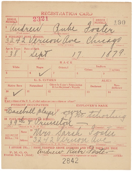 The World War I Draft Registration Card For Andrew Rube
