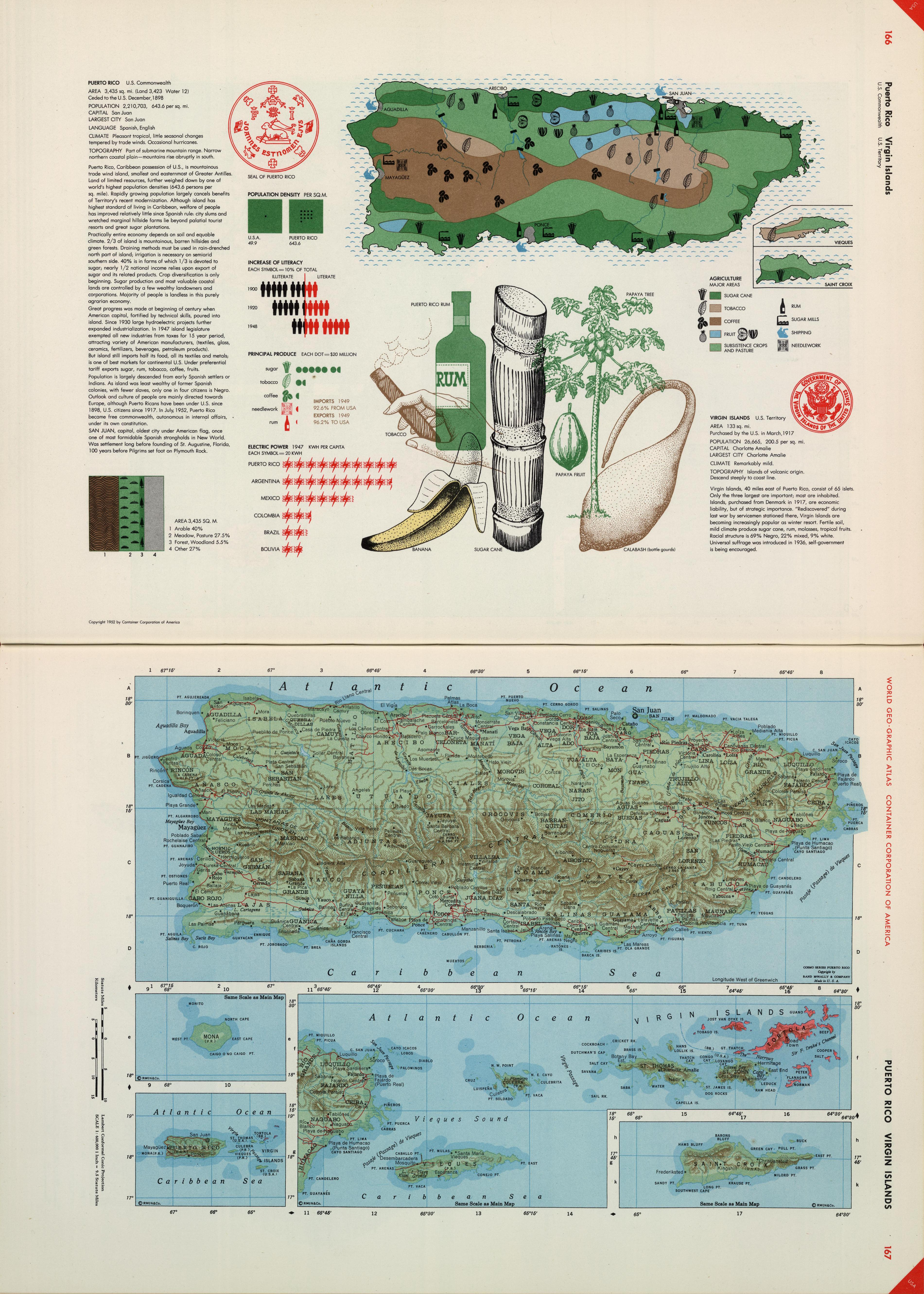 A map of Puerto Rico, including graphics about agriculture and ...