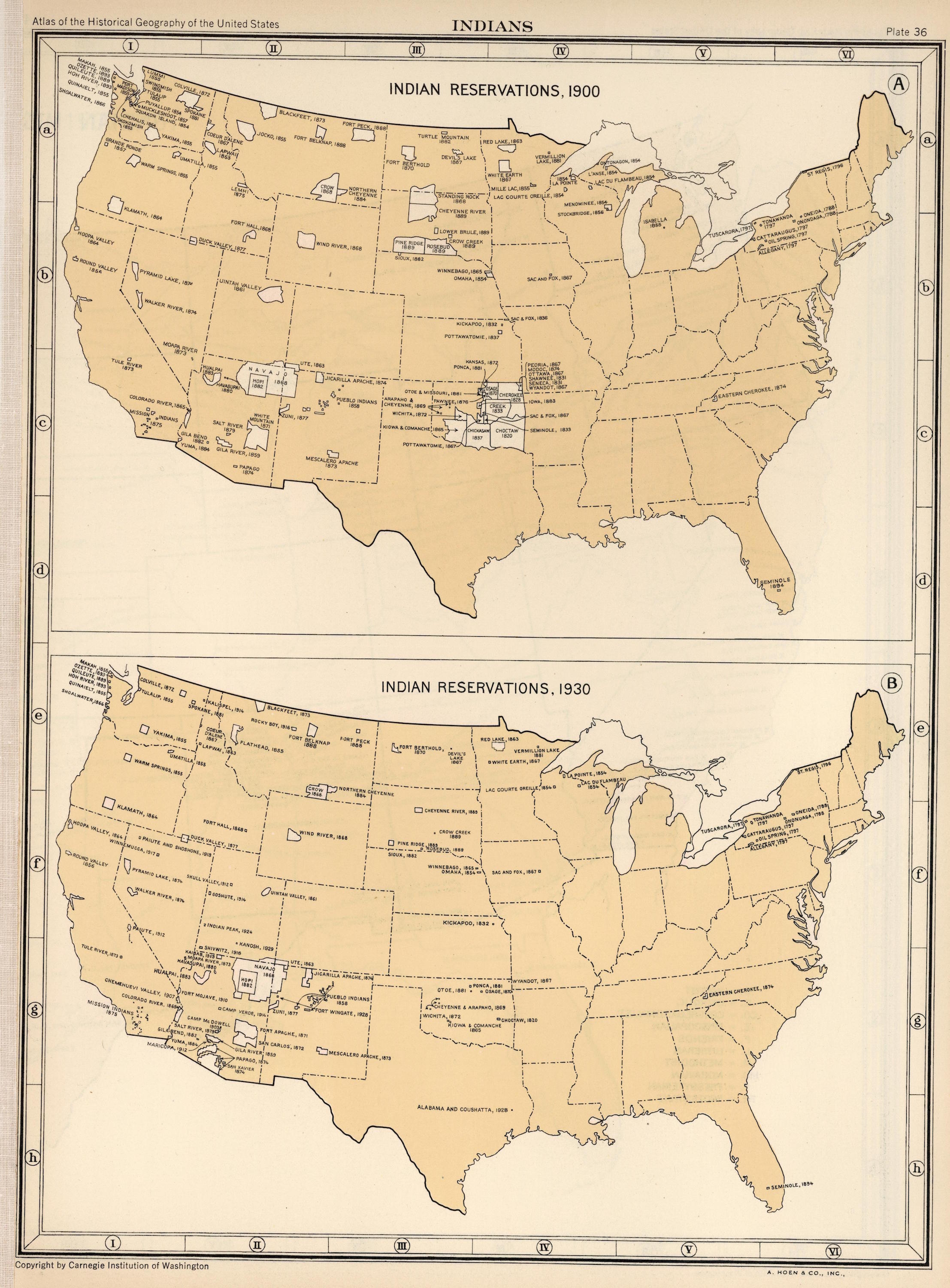 A Map Showing The Location Of Indian Reservations In 1900 And 1930 - Us-map-1930