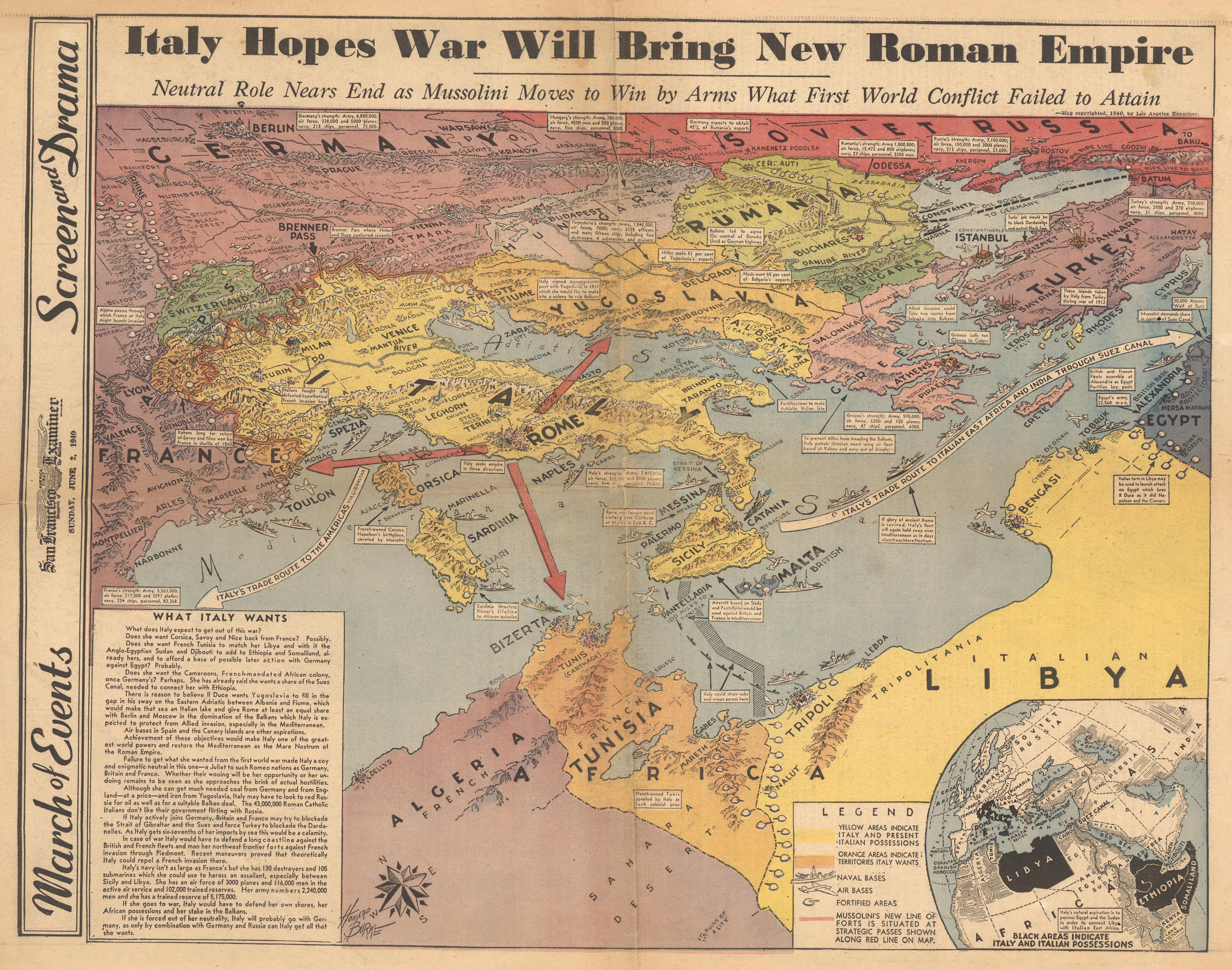 A 1940 map describing Italy\'s plan to rebuild the Roman empire ...