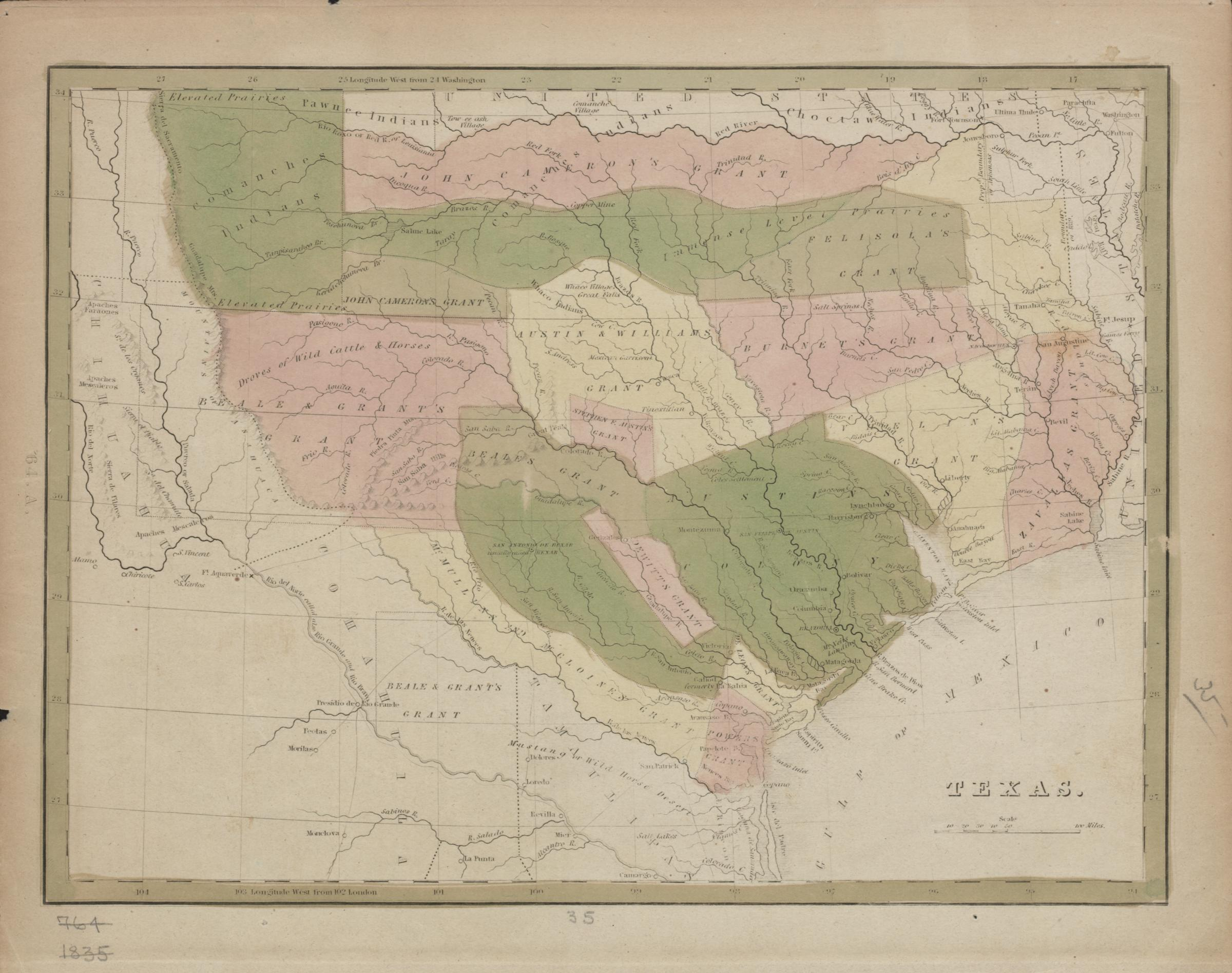 An 1835 map of Texas showing major land grants and Native American