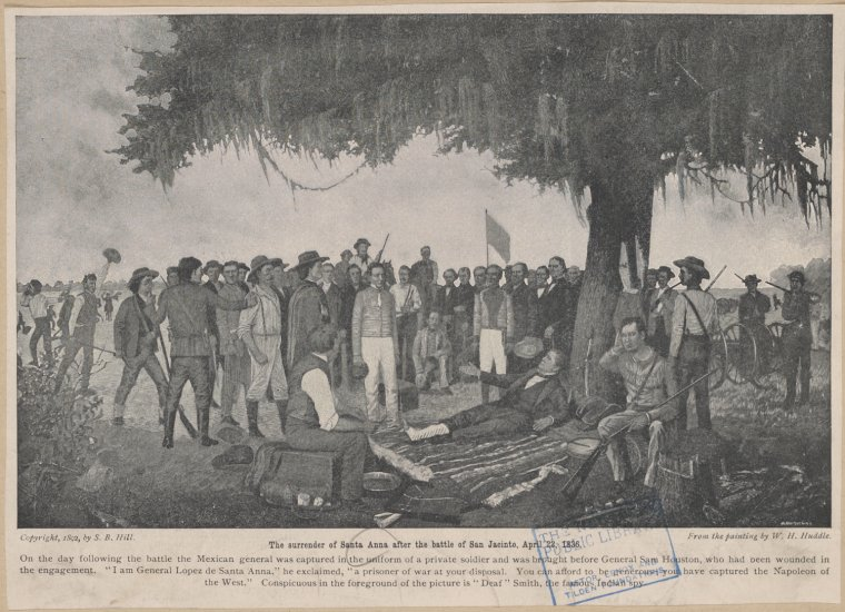 an 1892 print depicting the surrender of santa anna after the battle