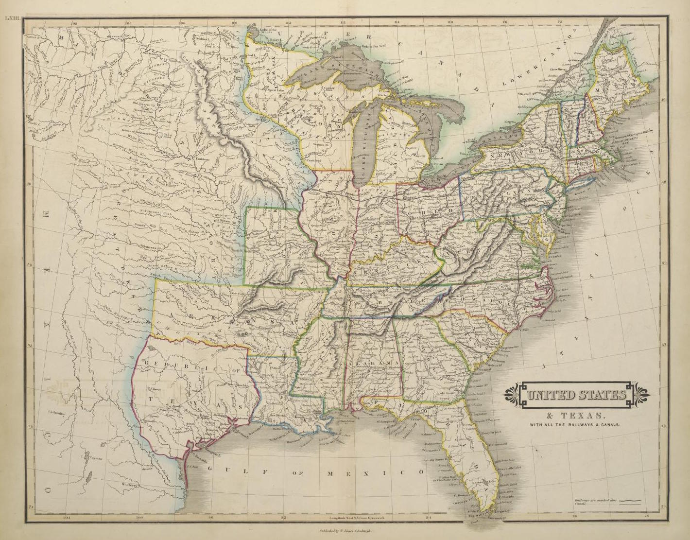 Map Of Texas 1836.A Map Of The United States And Republic Of Texas Including Railways
