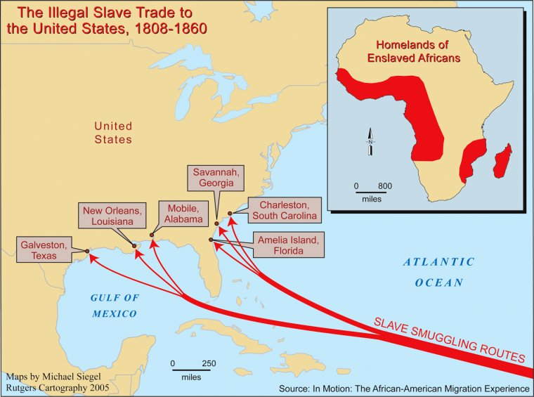 A Map Of Illegal Slavetrade Routes To The United States Used - Map of us states 1860 slave