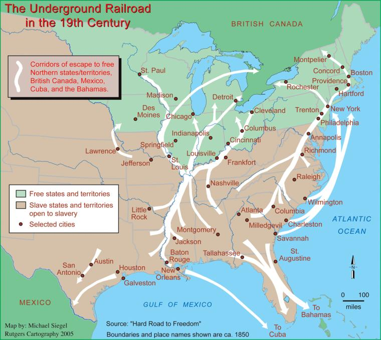 A map of the nineteenth-century Underground Railroad created ... Underground To Canada Map on underground railroad map, island of the blue dolphins map, bridge to terabithia map,