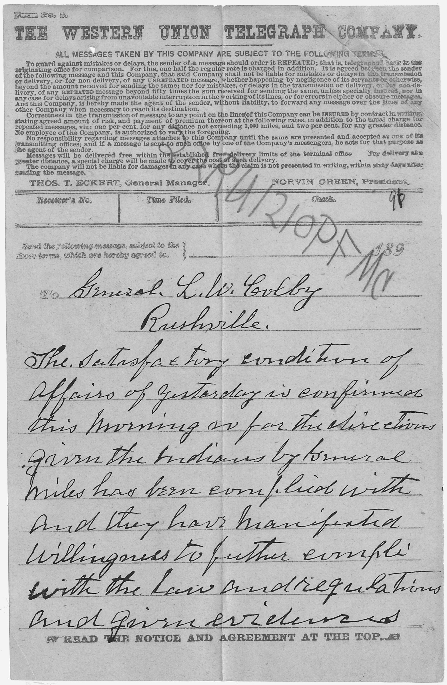 A US Army Situation Report About Conditions At Wounded Knee In The Aftermath Of Massacre 1891